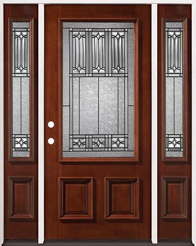3/4 Lite Mahogany Prehung Wood Door Unit with Sidelites #2023