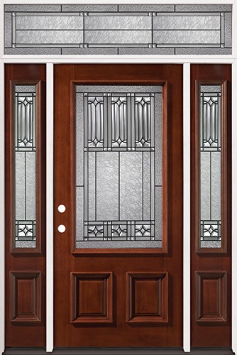3/4 Lite Mahogany Prehung Wood Door Unit with Transom #2023