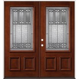 3/4 Lite Mahogany Prehung Double Wood Door Unit #2023