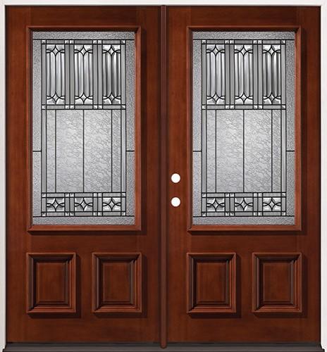 3/4 Lite Mahogany Prehung Double Wood Door Unit #2023