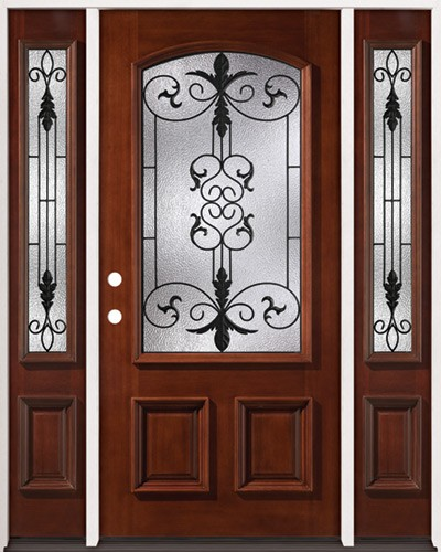 3/4 Arch Mahogany Prehung Wood Door Unit with Sidelites #2024