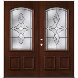 3/4 Arch Mahogany Prehung Double Wood Door Unit #2034