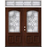 3/4 Arch Mahogany Prehung Wood Double Door Unit with Transom #2034