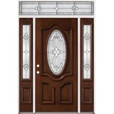 3/4 Oval Mahogany Prehung Wood Door Unit with Transom #2037