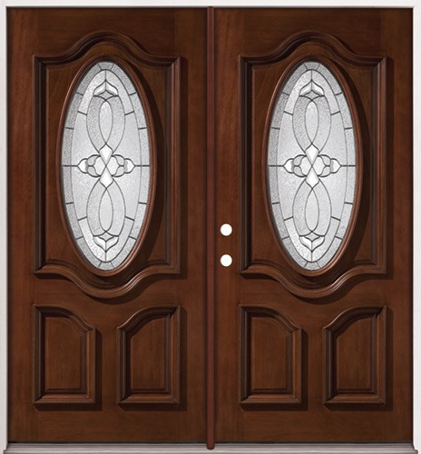3/4 Oval Mahogany Prehung Double Wood Door Unit #2037