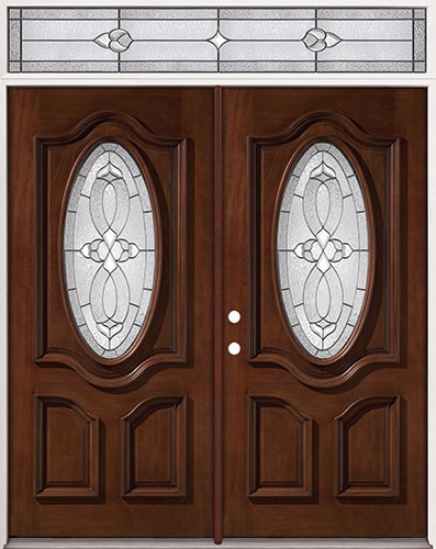 3/4 Oval Mahogany Prehung Wood Double Door Unit with Transom #2037