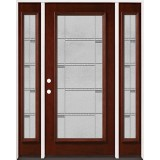 Full Lite Pre-finished Mahogany Wood Door Unit with Sidelites #2072