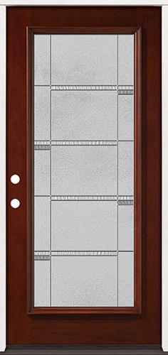 Full Lite Pre-finished Mahogany Wood Door Prehung Door Unit #2072