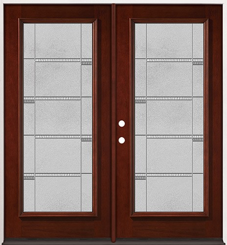 Full Lite Pre-finished Mahogany Wood Double Door Unit #2072