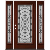 Full Lite Pre-finished Mahogany Wood Door Unit with Sidelites #2075