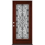 Full Lite Pre-finished Mahogany Wood Door Prehung Door Unit #2075