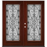 Full Lite Pre-finished Mahogany Wood Double Door Unit #2075