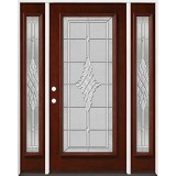 Full Lite Pre-finished Mahogany Wood Door Unit with Sidelites #2076