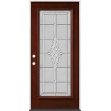 Full Lite Pre-finished Mahogany Wood Door Prehung Door Unit #2076