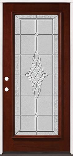 Full Lite Pre-finished Mahogany Wood Door Prehung Door Unit #2076