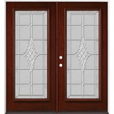Full Lite Pre-finished Mahogany Wood Double Door Unit #2076