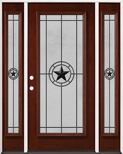 Full Lite Pre-finished Mahogany Wood Door Unit with Sidelites #2077