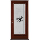 Full Lite Pre-finished Mahogany Wood Door Prehung Door Unit #2077
