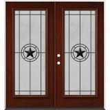 Full Lite Pre-finished Mahogany Wood Double Door Unit #2077