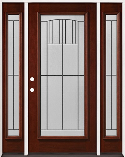 Full Lite Pre-finished Mahogany Wood Door Unit with Sidelites #2078