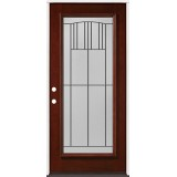 Full Lite Pre-finished Mahogany Wood Door Prehung Door Unit #2078