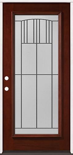 Full Lite Pre-finished Mahogany Wood Door Prehung Door Unit #2078