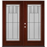 Full Lite Pre-finished Mahogany Wood Double Door Unit #2078
