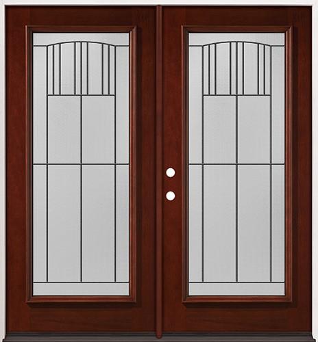 Full Lite Pre-finished Mahogany Wood Double Door Unit #2078