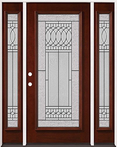 Full Lite Pre-finished Mahogany Wood Door Unit with Sidelites #2079