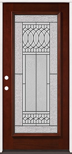 Full Lite Pre-finished Mahogany Wood Door Prehung Door Unit #2079
