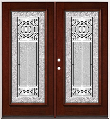 Full Lite Pre-finished Mahogany Wood Double Door Unit #2079