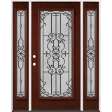 Full Lite Pre-finished Mahogany Wood Door Unit with Sidelites #2080