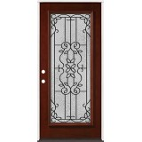 Full Lite Pre-finished Mahogany Wood Door Prehung Door Unit #2080