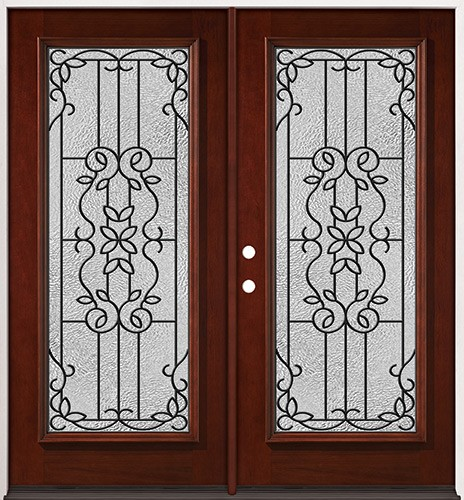 Full Lite Pre-finished Mahogany Wood Double Door Unit #2080