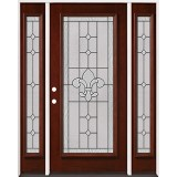 Full Lite Pre-finished Mahogany Wood Door Unit with Sidelites #2081