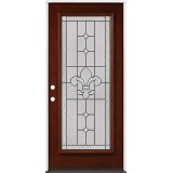 Full Lite Pre-finished Mahogany Wood Door Prehung Door Unit #2081