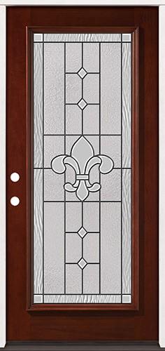 Full Lite Pre-finished Mahogany Wood Door Prehung Door Unit #2081