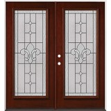 Full Lite Pre-finished Mahogany Wood Double Door Unit #2081