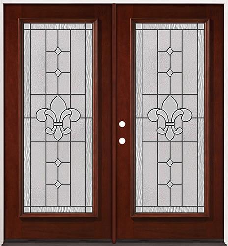 Full Lite Pre-finished Mahogany Wood Double Door Unit #2081