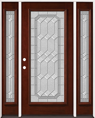 Full Lite Pre-finished Mahogany Wood Door Unit with Sidelites #2082
