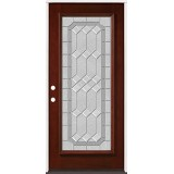 Full Lite Pre-finished Mahogany Wood Door Prehung Door Unit #2082