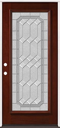 Full Lite Pre-finished Mahogany Wood Door Prehung Door Unit #2082