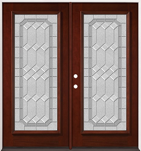 Full Lite Pre-finished Mahogany Wood Double Door Unit #2082