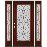 Full Lite Pre-finished Mahogany Wood Door Unit with Sidelites #2083