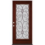 Full Lite Pre-finished Mahogany Wood Door Prehung Door Unit #2083