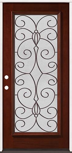Full Lite Pre-finished Mahogany Wood Door Prehung Door Unit #2083