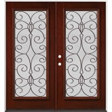 Full Lite Pre-finished Mahogany Wood Double Door Unit #2083