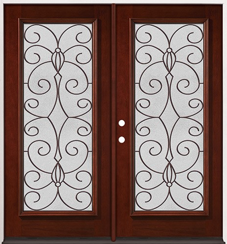 Full Lite Pre-finished Mahogany Wood Double Door Unit #2083