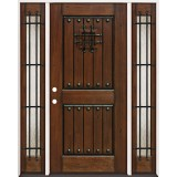 Rustic Mahogany Prehung Wood Door Unit with Sidelites #2086