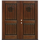 Rustic Mahogany Prehung Double Wood Door Unit #2086
